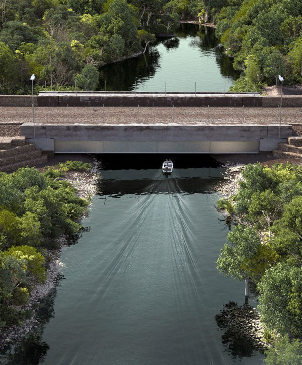 Explaining construction techniques for South32's Emerald River crossing project in Australia's Northern Territory
