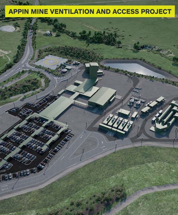 Proposed ventilation shafts and mine access facilities for South32 at Appin Mine